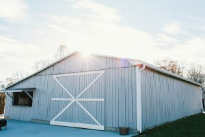 Sunny view of barn