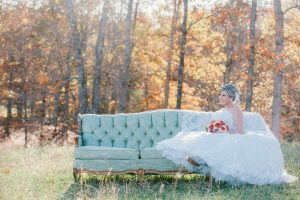 bride posing on couch