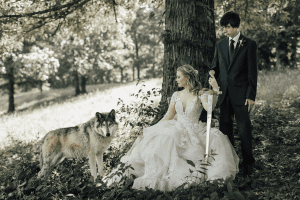 bride, groom, sword, & wolf