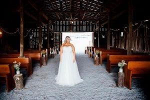 bride in a barn
