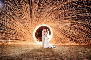 newlyweds with light effect