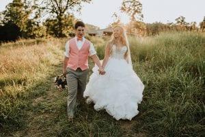 newlyweds walking together