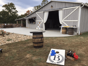barn set up for cocktail hour