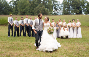 photo of wedding party in field
